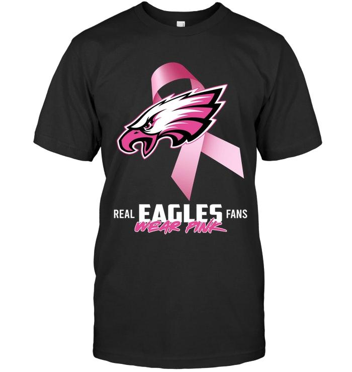 Nfl Philadelphia Eagles Real Fans Wear Pink Br East Cancer Support Shirt Sweater Size Up To 5xl