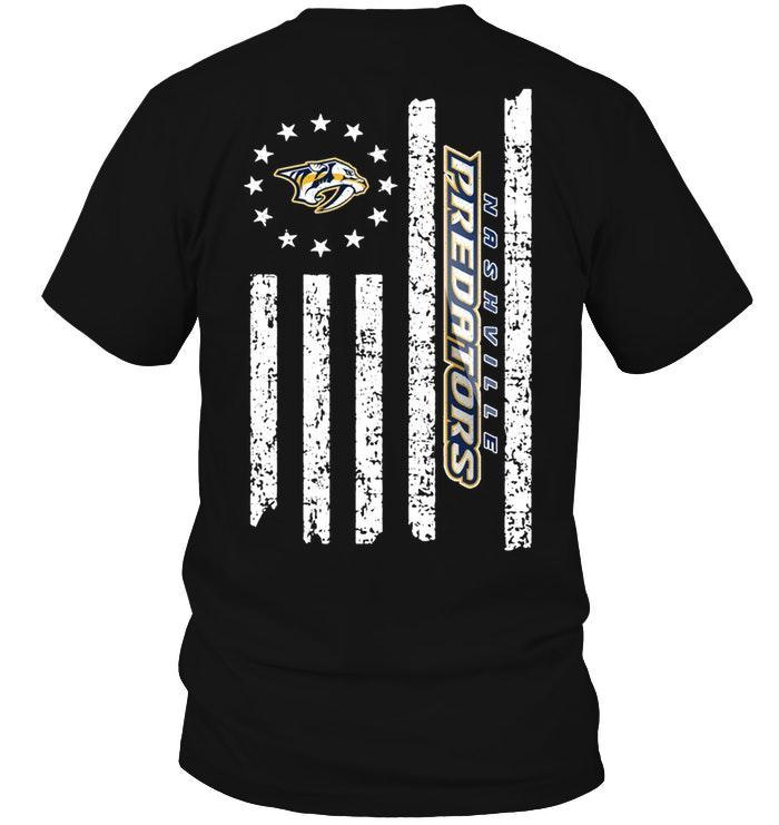 Nhl Nashville Predators Star American Flag On Back Shirt Sweater Plus Size Up To 5xl