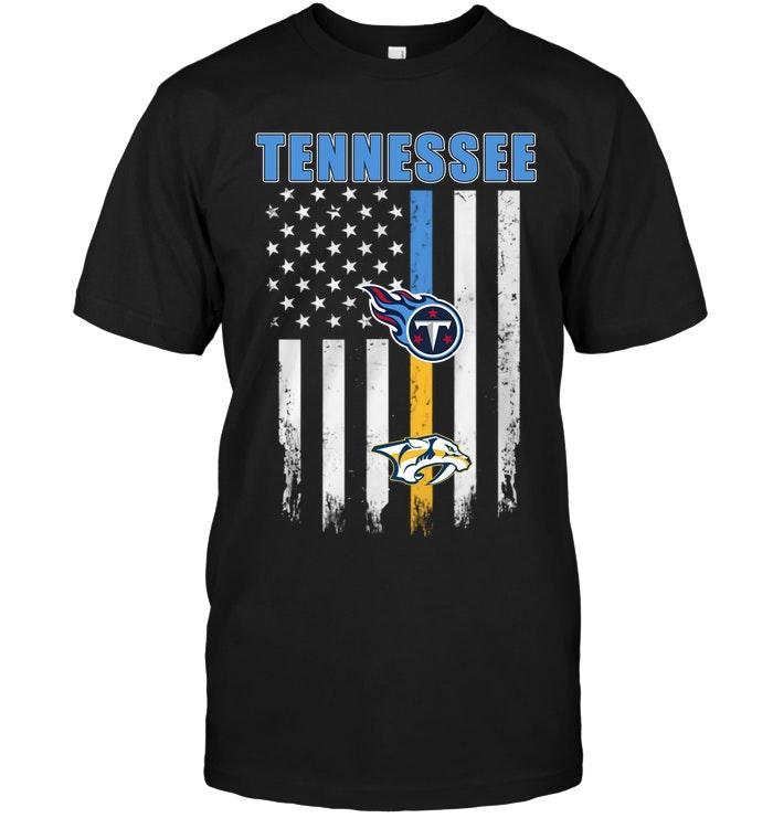 Nhl Nashville Predators Tennessee Tennessee Titans Nashville Predators American Flag Shirt Sweater Size Up To 5xl