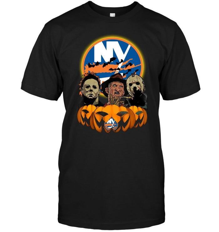 Nhl New York Islanders Halloween Michael Myers Freddy Krueger Jason Pumpkin Shirt Shirt Plus Size Up To 5xl