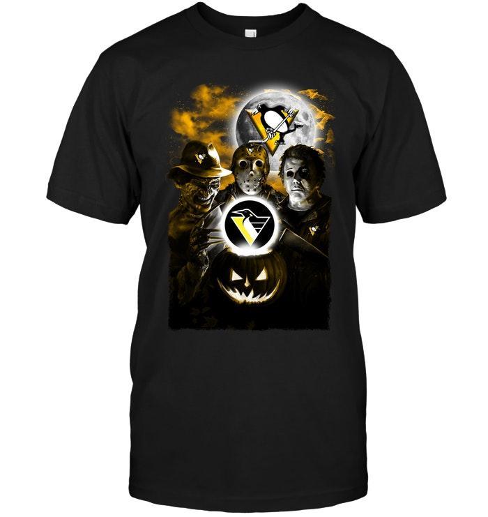 Nhl Pittsburgh Penguins Halloween Freddy Krueger Jason Michael Myers Fan Shirt Size Up To 5xl