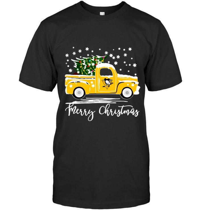 Nhl Pittsburgh Penguins Merry Christmas Christmas Tree Truck T Shirt Sweater Plus Size Up To 5xl