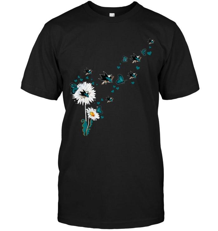 Nhl San Jose Sharks Daisy Butterfly Fan Shirt Shirt Plus Size Up To 5xl