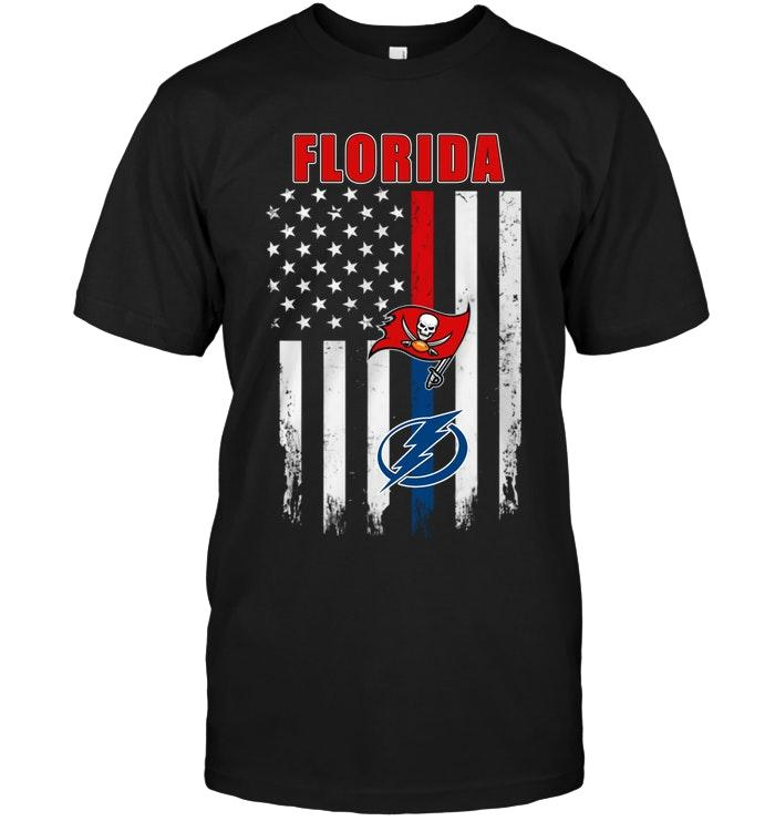 Nhl Tampa Bay Lightning Floridatampa Bay Buccaneers Tampa Bay Lightning American Flag Shirt Hoodie Plus Size Up To 5xl