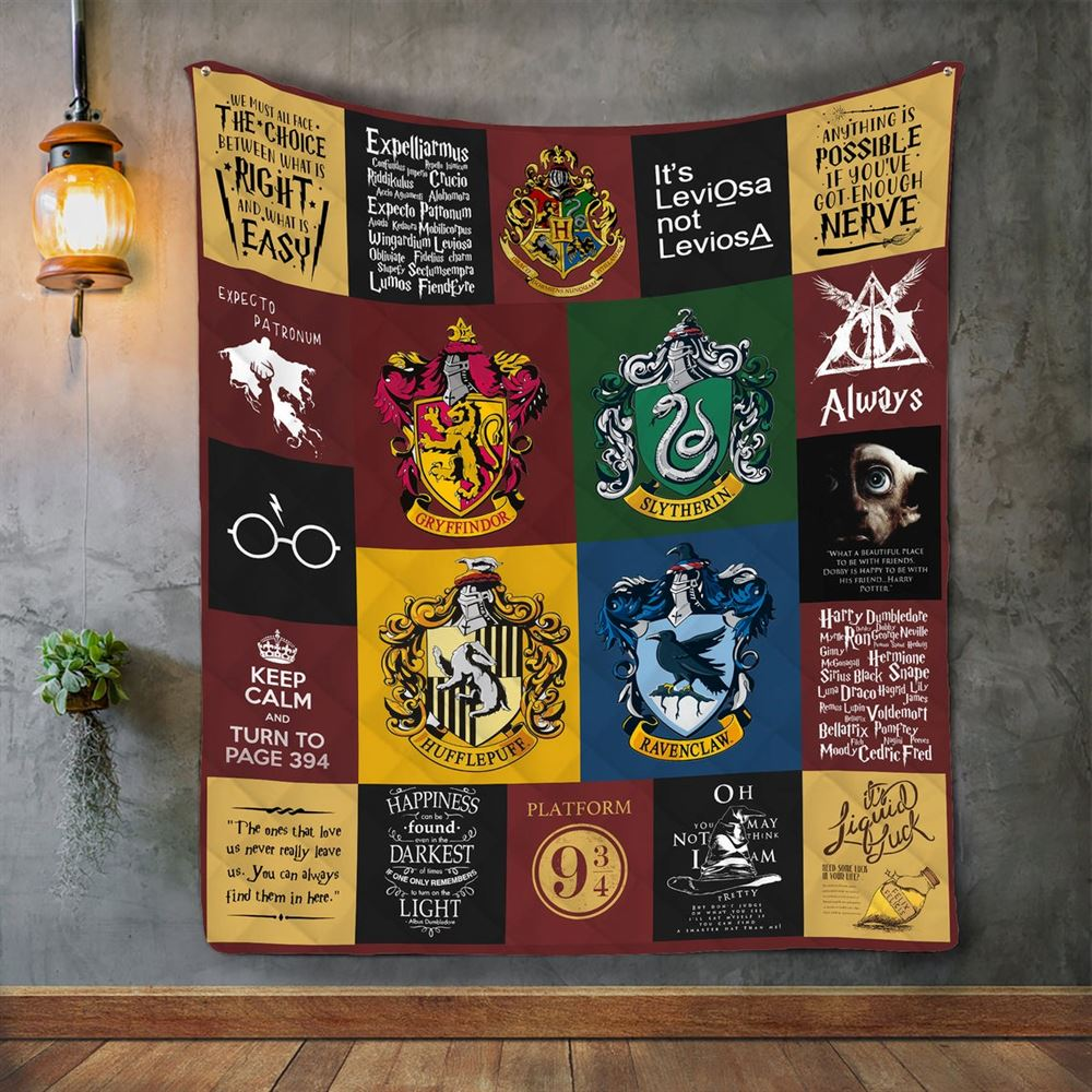 Harry Potter Quilt Blanket Harry Potter Grid Pictures Quilt Blanket For Gift Idea Soft Comfortable Quilt