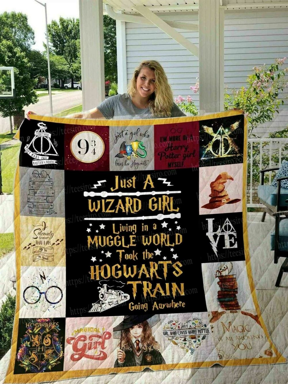 Harry Potter Quilt Blanket Harry Potter Quilt Hogwart Quilt Wizard Quilt Witch Quilt Magic Quilt Birthday Gift 5