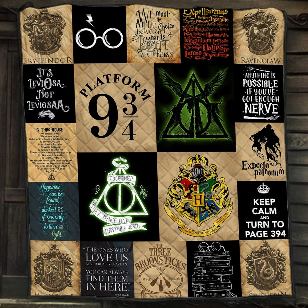 Harry Potter Quilt Blanketplatform 394 Quiltkeep Calm And Turn To Page 394 Blanketexpecto Patronum Quilt Blanket