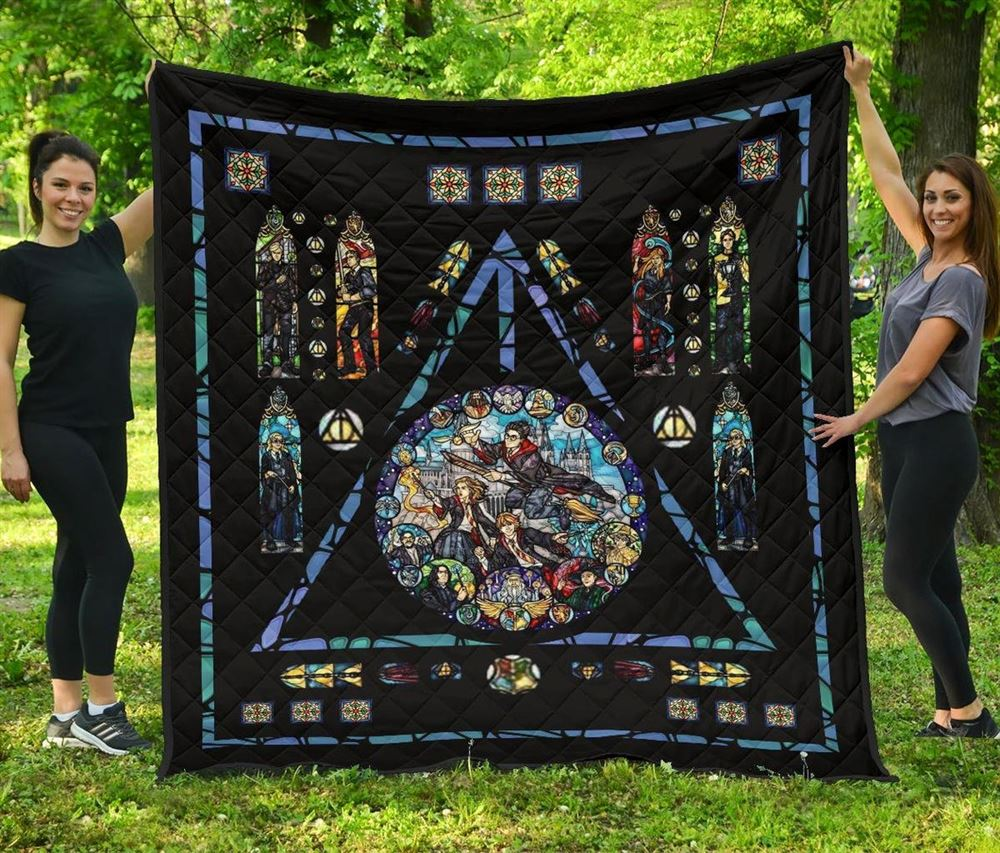 Harry Potter Stain Glass Style Quilt Blanket Hogwarts Wizard School Gift Decorative Quilt Blanket Bedding Decor Idea For Harry Potter Fans