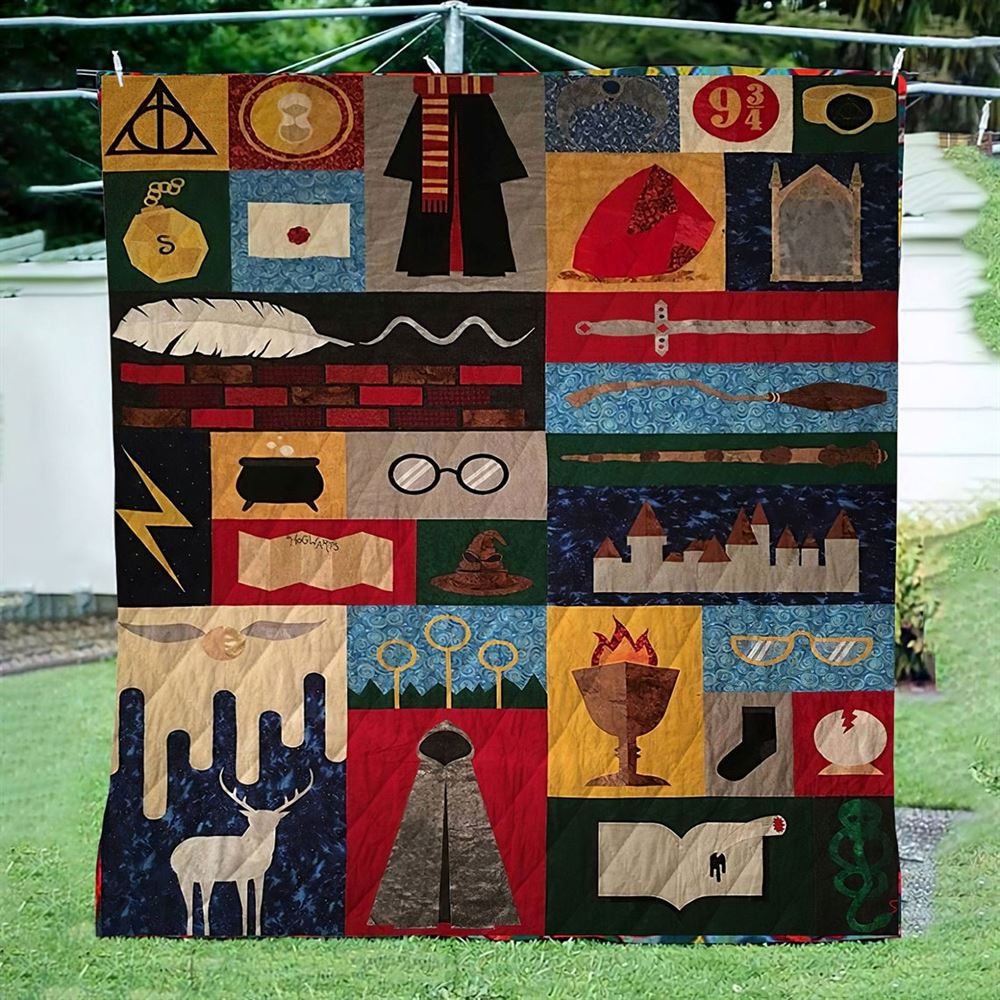 Harry Potter Symbols Gryffindor Slytherin Hufflepuff Ravenclaw Ver2 Quilt Blanket Bedding Family Gift Idea For Fans For Him For Her