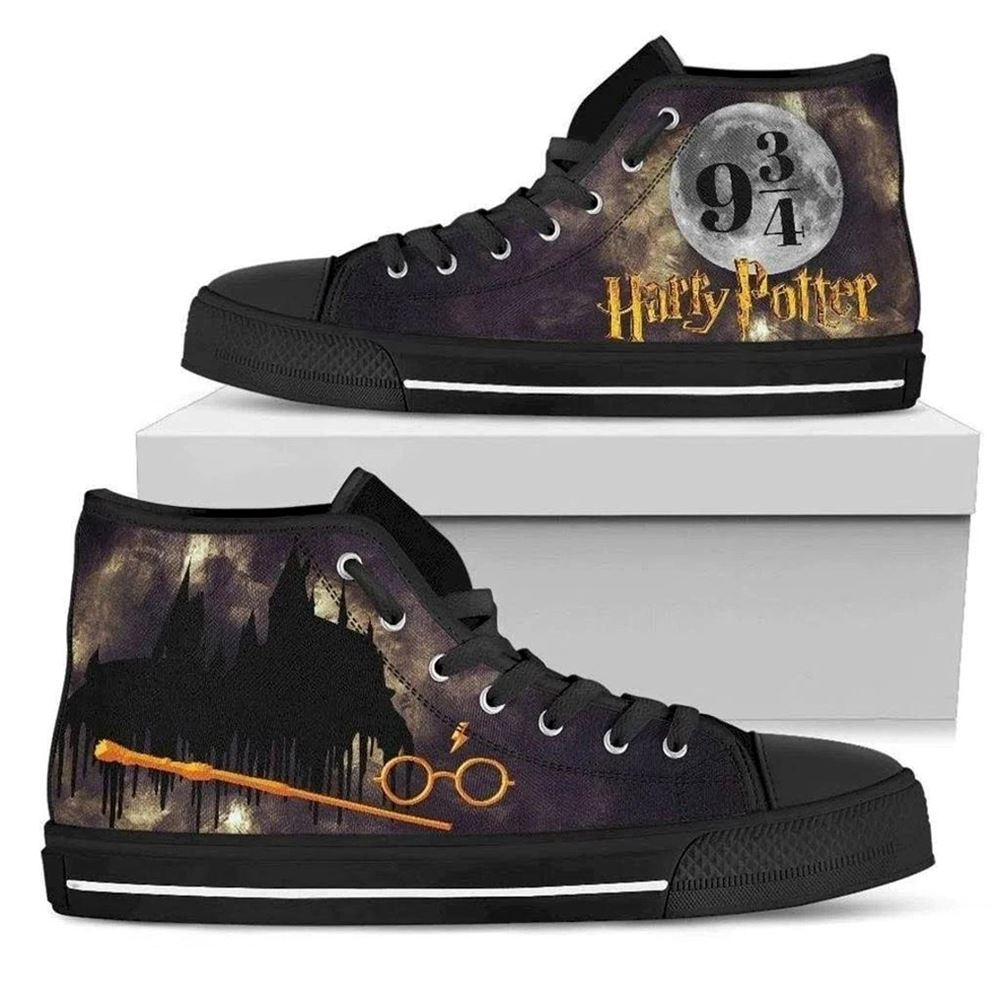 Harry Magical Wizard Potter Inspired Moon High Top Canvas Shoes Gift For Mom Gift For Dad Birthday Gift