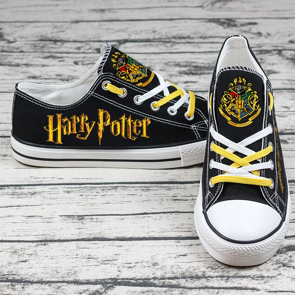 Harry Potter Custom Name Black Low Top Shoes 03 Printed Shoes Cartoon Shoes Birthday Gift