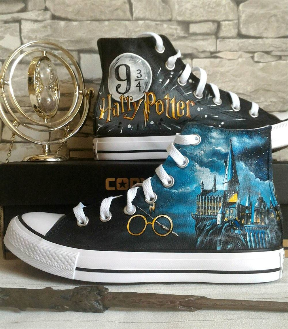 Harry Potter Inspired Shoes Hand Painted Shoes Custom Converse Shoes Hogwarts Harry Potter Movie Themed Shoesharry Potter Gifts