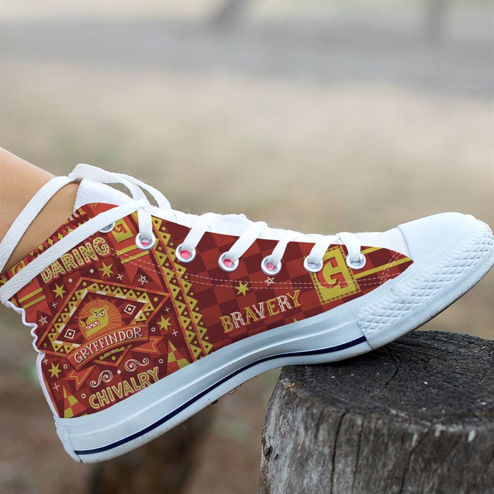 Harry Potter Movie Hogwarts Gryffindor Hightop Canvas Shoes Birthday Unisex Gift Idea For Fans Him Her Son Boyfriend Girlfriend