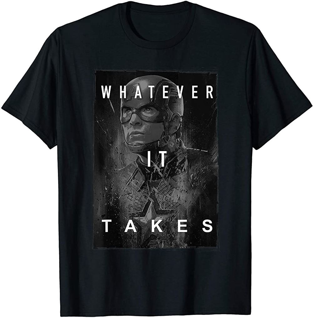 Avengers Endgame Captain America What Ever It Takes Poster T-shirt Size Up To 5xl
