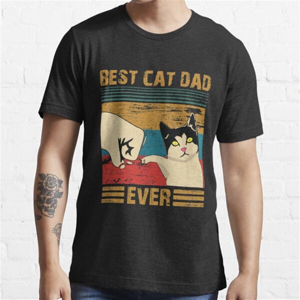 Best Cat Dad Ever T-shirt - Bester Katzenvater Aller Zeiten Shirt - Vintage Best Cat Dad Ever Bump Fit T-shirt