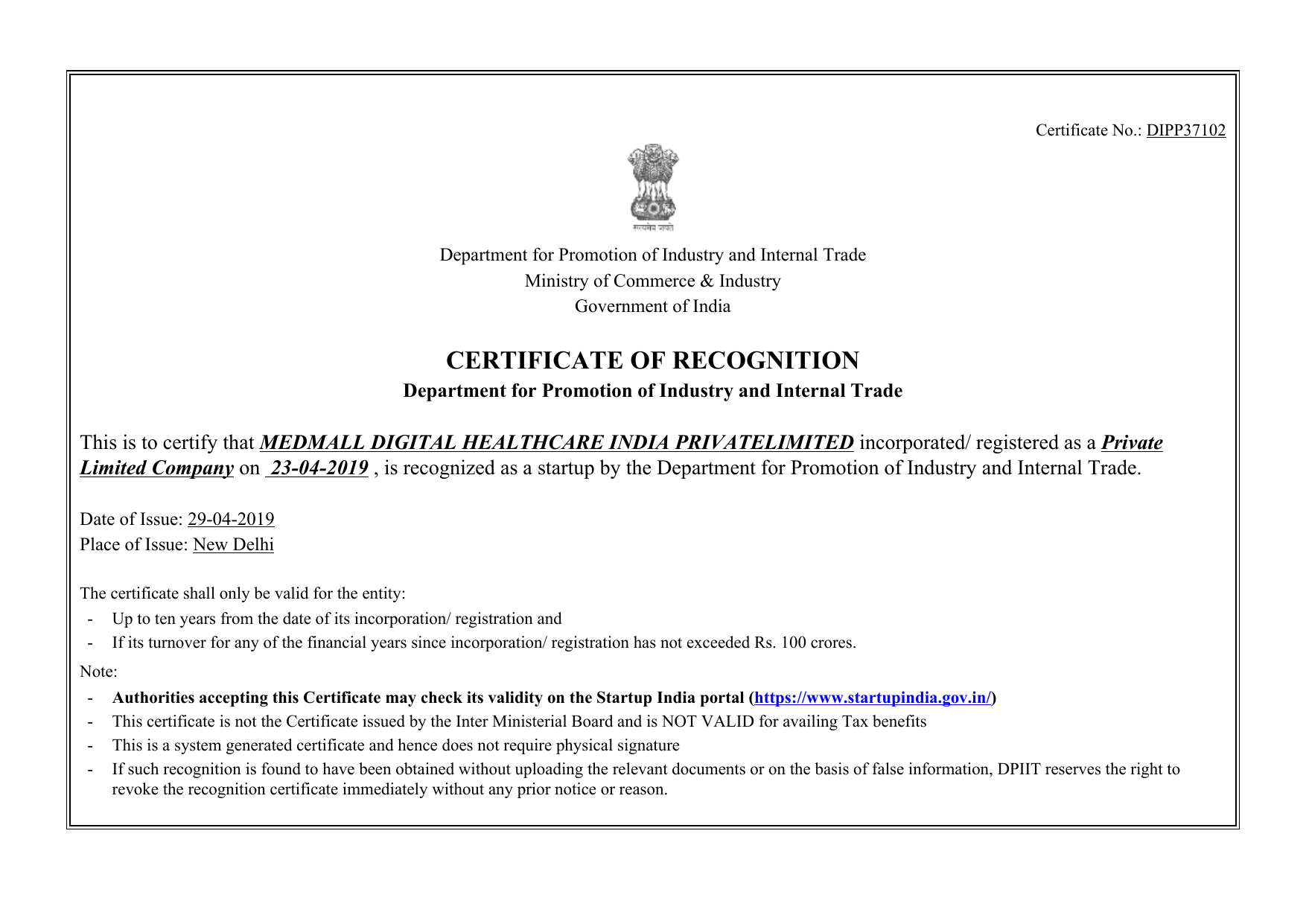 DIPP37102_MEDMALL_DIGITAL_HEALTHCARE_INDIA_PRIVATELIMITED_Recognization