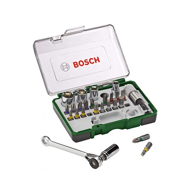 Bosch 2607017160 Socket & Bit Set with Mini Ratchet (27 Pieces)