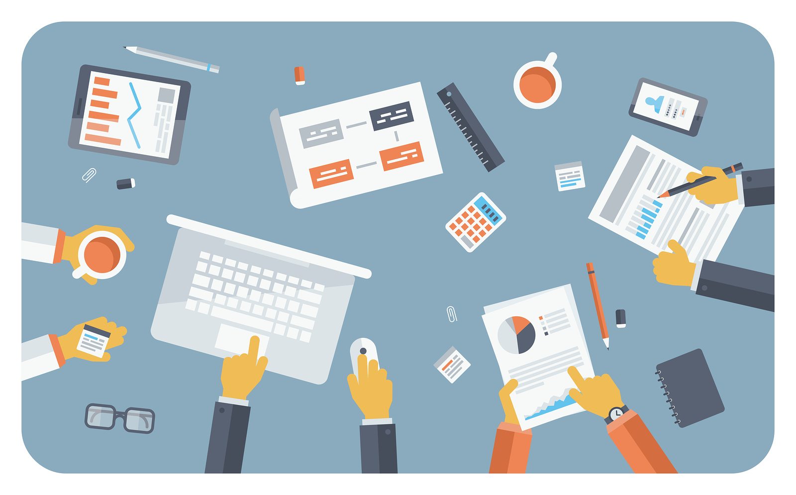 Flat design style modern vector illustration concept of teamwork consulting on briefing small business project presentation group of people planning and brainstorming ideas of company financial strategy.