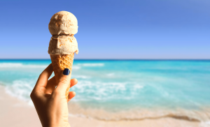 Ice Cream 2 Scoops in a Cone on the Beach