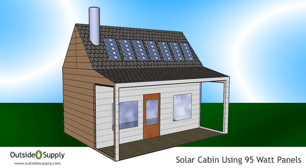 Solar cabin using 95 watt solar panel to charge battery bank.