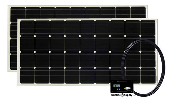 A pair of RV solar panels in a Go Power RV solar kit.