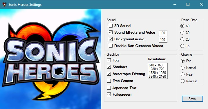Sonic Heroes Settings - Unofficial patches - PCGamingWiki