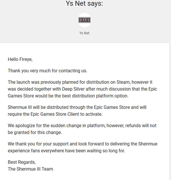 Shenmue III developers refuse Kickstarter refunds for Steam