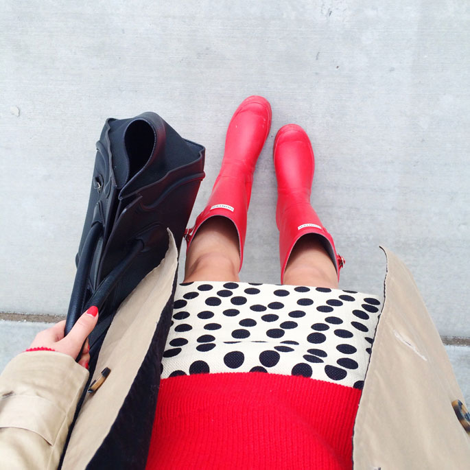 red-hunter-boots