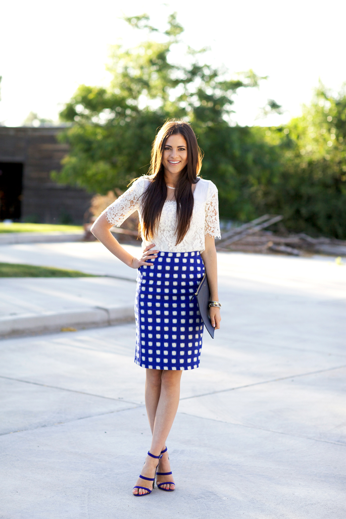 blue-summer-gingham-pencil-skirt