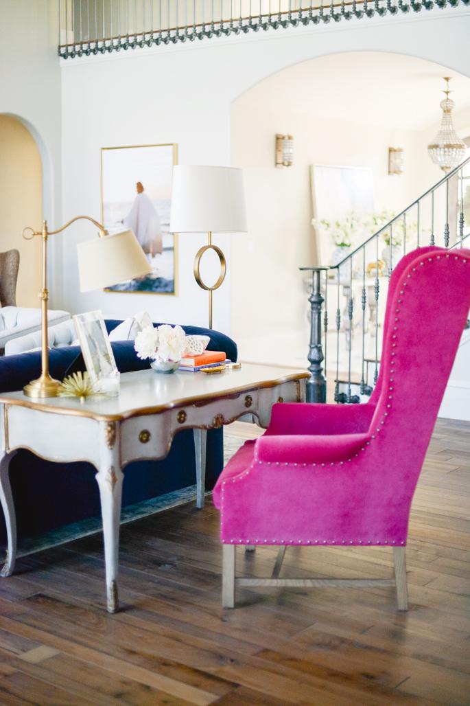 hot-pink-velvet-accent-chair