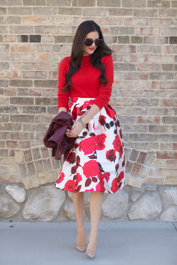 red-floral-skirt