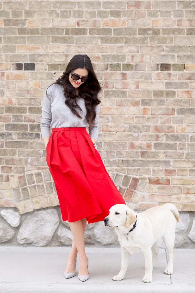 holiday-red-midi-skirt