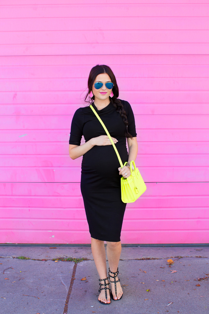 black-stretch-maternity-dress
