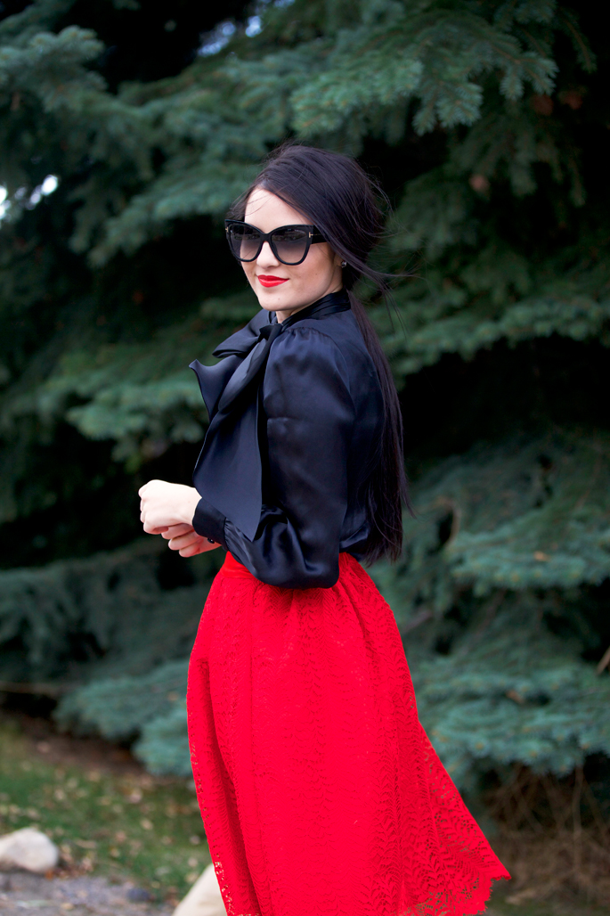 red-lace-midi-skirt