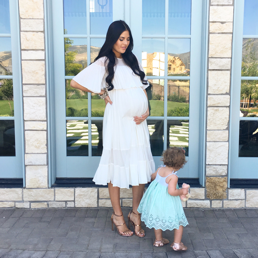 white-pleated-maternity-dress - 1