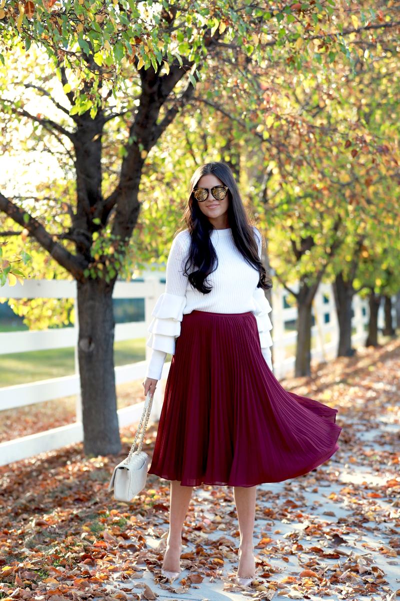 maroon-pleated-midi-chiffon-skirt-3