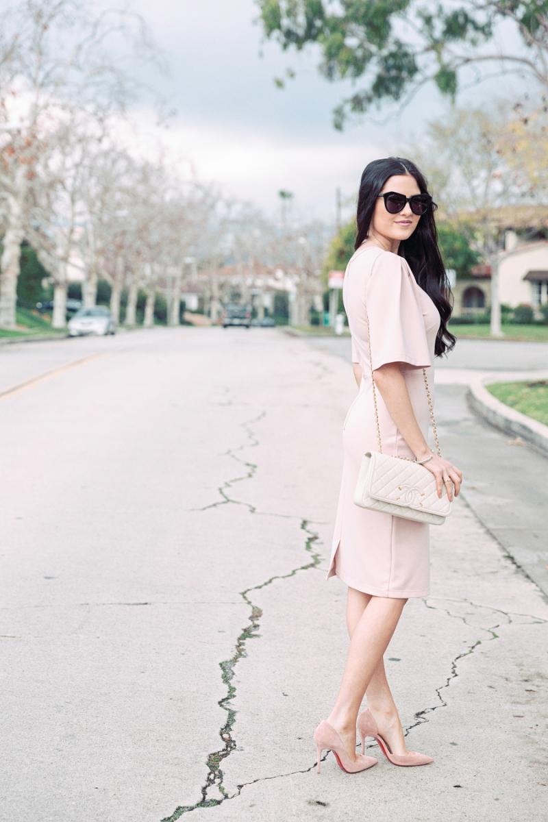 blush-pink-flutter-sleeve-dress - 1