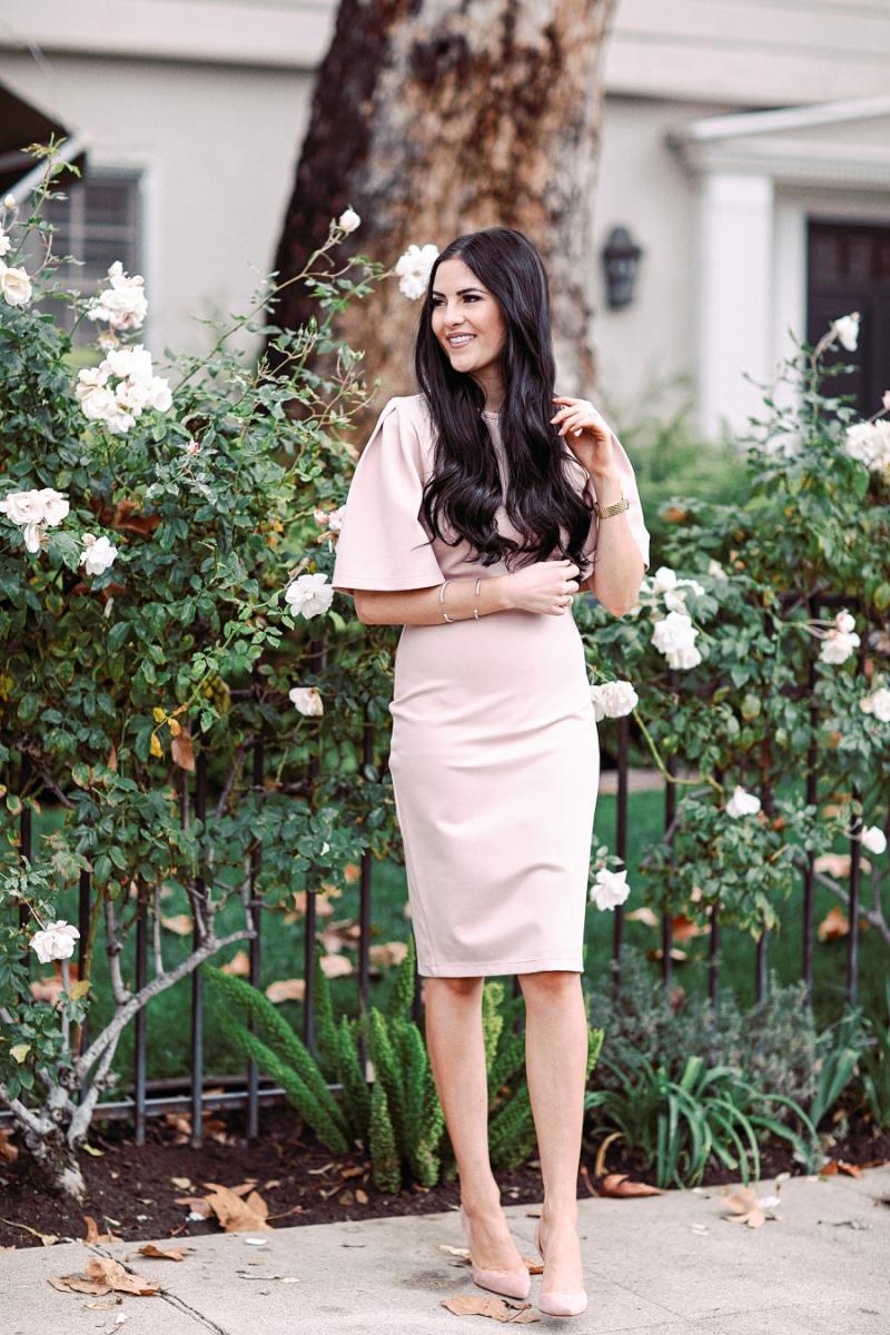 blush-pink-flutter-sleeve-dress - 10