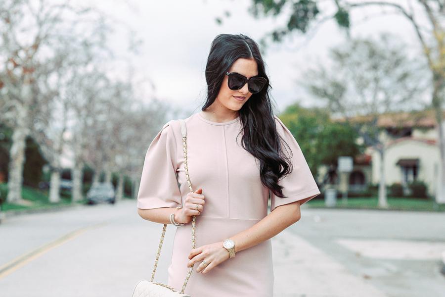 blush-pink-flutter-sleeve-dress - 2