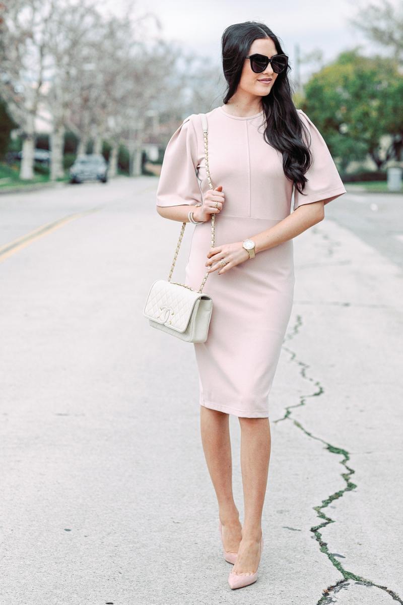 blush-pink-flutter-sleeve-dress - 3