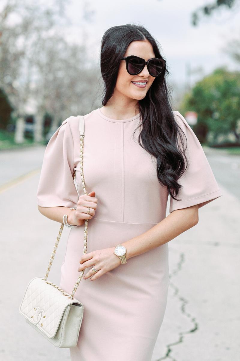 blush-pink-flutter-sleeve-dress - 4
