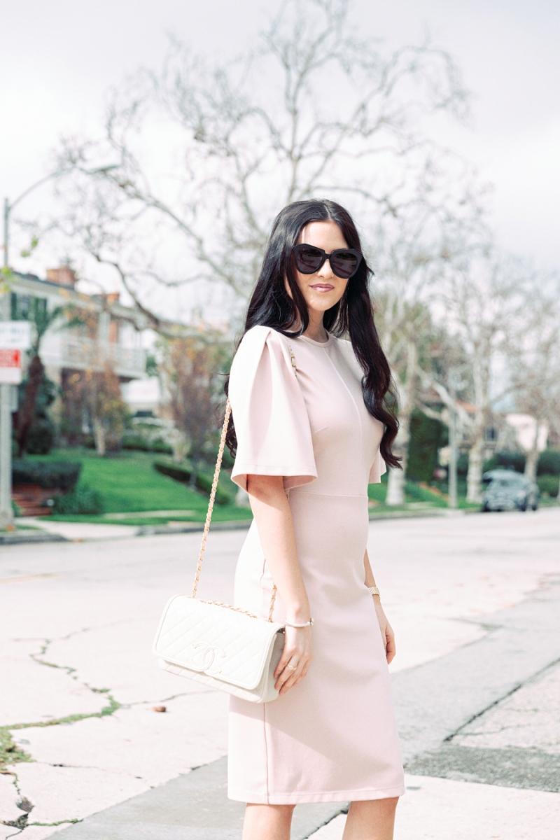 blush-pink-flutter-sleeve-dress - 5