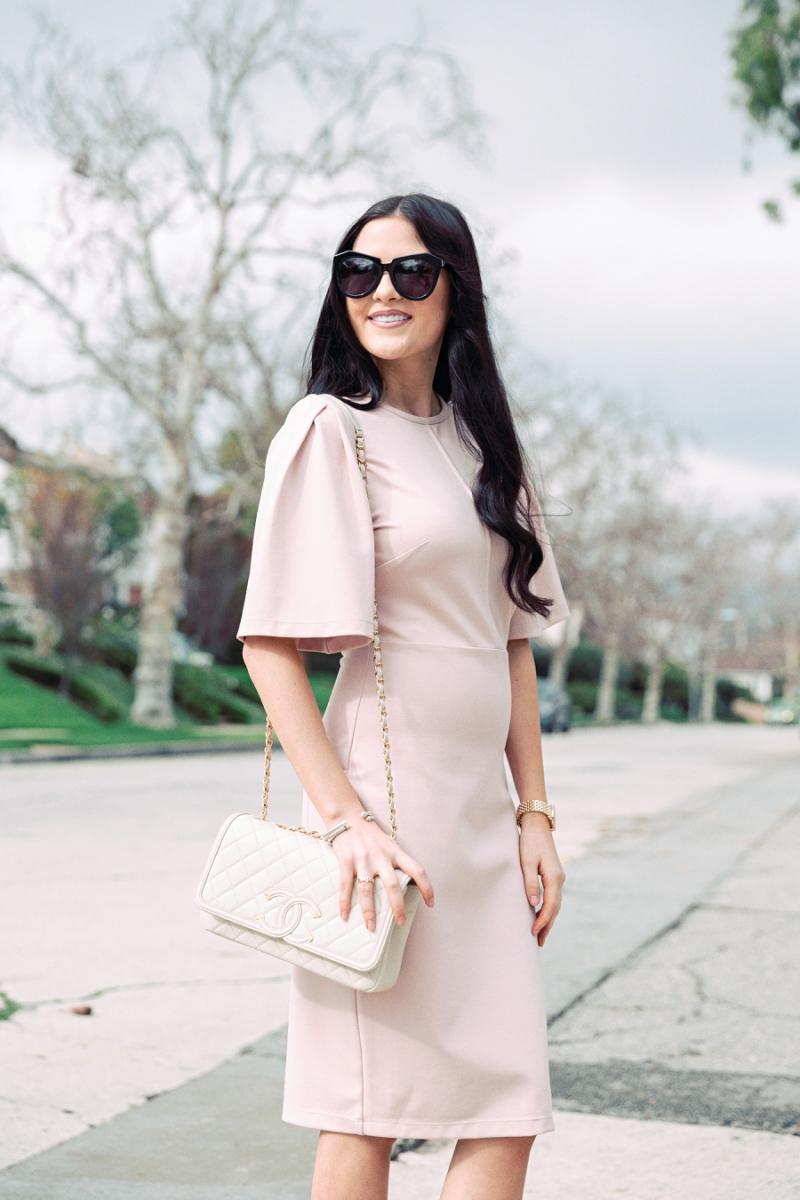 blush-pink-flutter-sleeve-dress - 6
