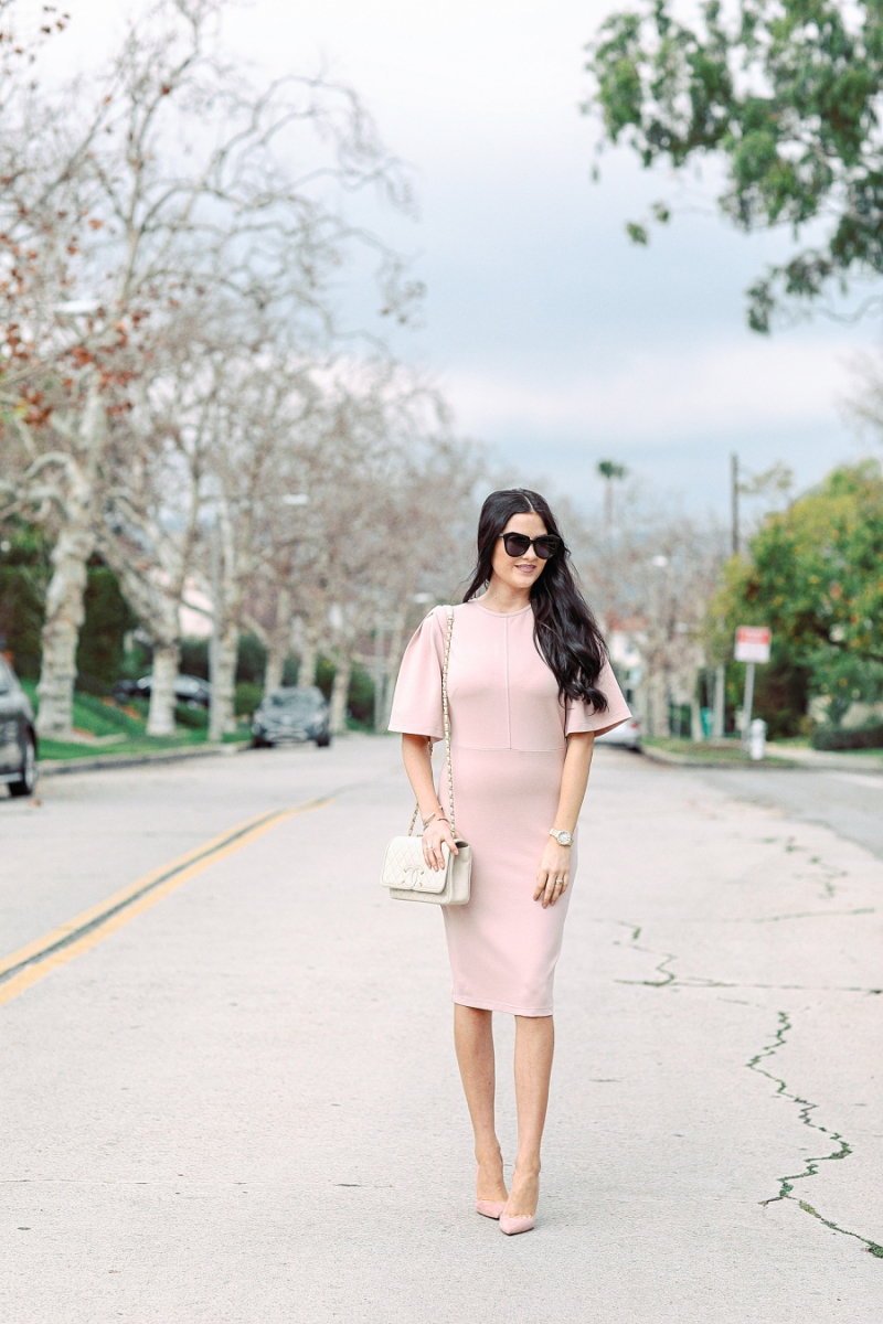 blush-pink-flutter-sleeve-dress - 7