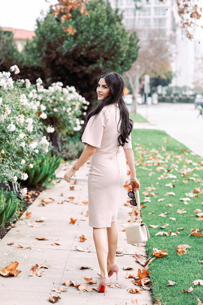 blush-pink-flutter-sleeve-dress - 8