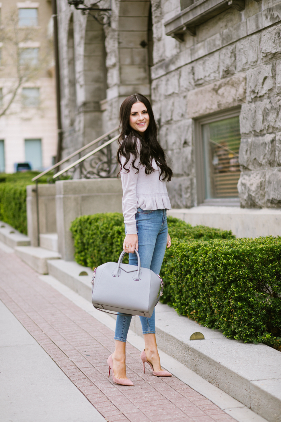 grey-rebecca-taylor-ruffle-sweater-pink-peonies-blogger - 1