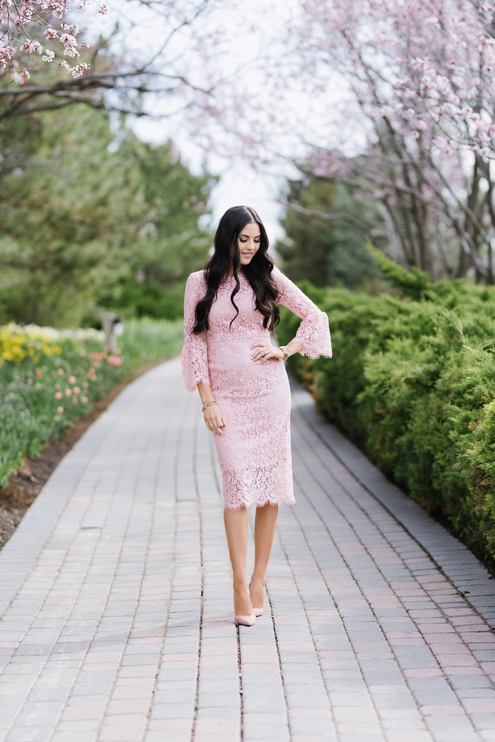 pink-lace-bell-sleeve-dress-rachel-parcell - 3