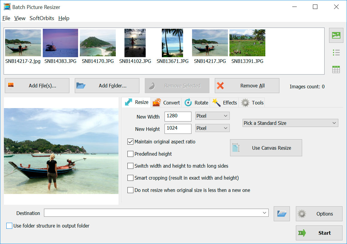 Batch Picture Resizer صور من البرنامج