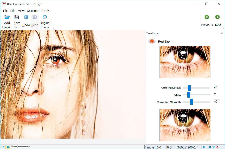 Red Eye Removal صور من البرنامج