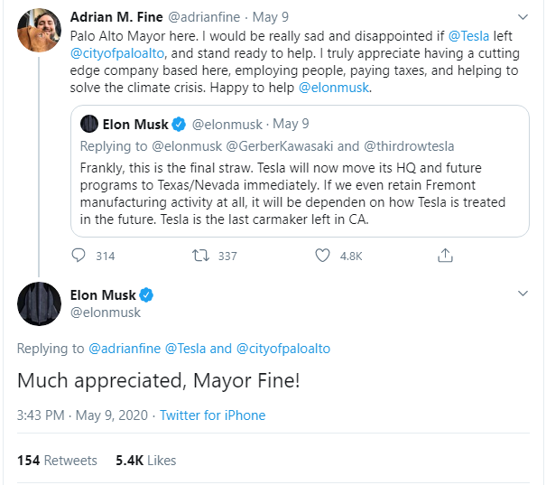 Musk announces Tesla HQ is leaving California, threatens moving assembly out too